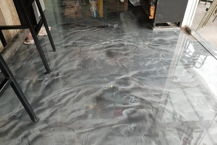 Silver Gray and Silver Pearl Restaurant Metallic Epoxy